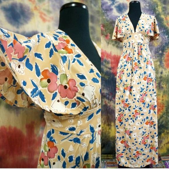 ad8af941e9787 Dresses | Epic 70s Vintage Boho Goddess Flowy Maxi Dress | Poshmark